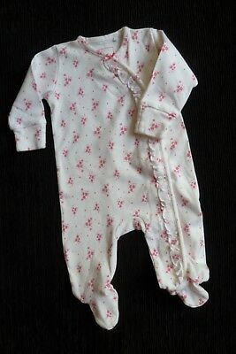 Baby clothes GIRL 0-3m NEW! NEXT white/pink floral,frill quality babygrow C SHOP