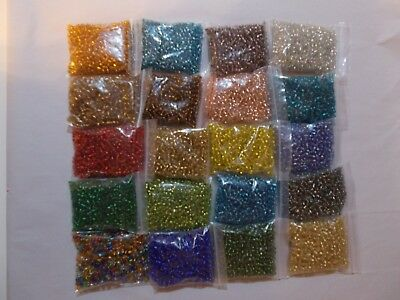 12 x 50g 3mm 8//0 Glass Seed Beads ASSORTED SILVER LINED 12 Different 600g D04