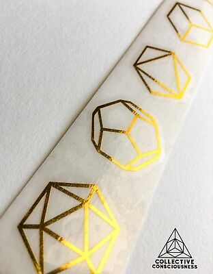 2 pack Platonic Solids Set Gold Chrome Die-Cut Decal  - Sacred Geometry