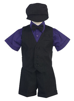 New Baby Toddler Kids Boys Black Purple Shorts Suit Set Outfit Wedding Easter