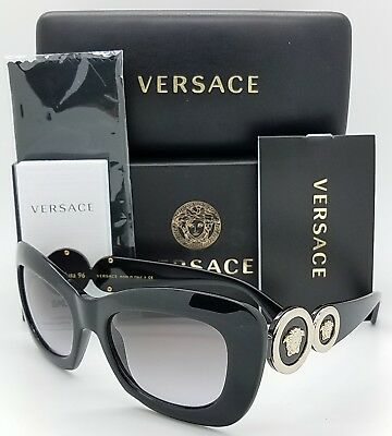 New Versace sunglasses VE4328 GB1/11 54 Black Gold Medusa 4328 Cateye AUTHENTIC