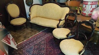 Attirant Antique American Victorian Eastlake Parlor Set Settee Settle Chair Sofa  Couch