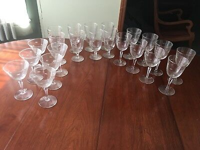 Vintage Etched Leaf Design Clear Glass Stemware