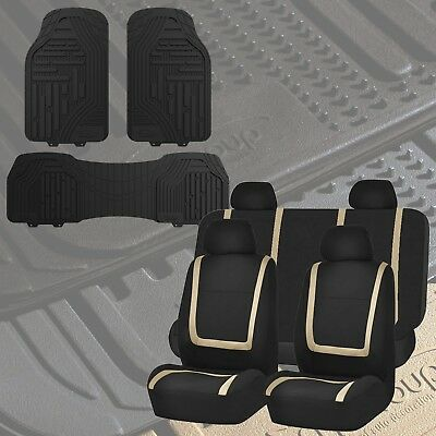 Flat Cloth Seat Covers Beige & Black with Classic Rubber Trimmable Floor Mats