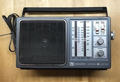 Vtg General Electric GE TV Sound 4Band WB/AM/FM Portable Radio 7-2945A Tested A+