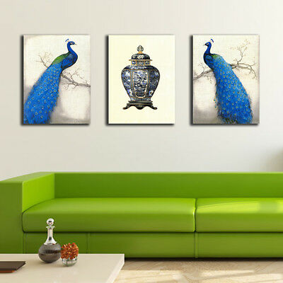 Unframed Canvas Prints 3 Pcs A4 Size High Quality Abstract Peacock Home Decor