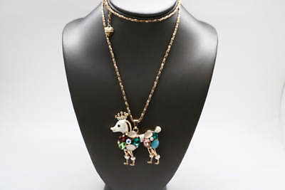 Betsey Johnson Yellow Goldtone Multicolored Crystal Cluster Poodle Necklace