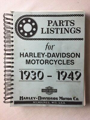 1930-1949  Parts Listings For Harley Davidson Motorcycles COPY OF THE ORIGINAL