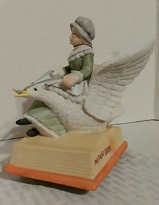 Mother Goose Porcelain Figurine Musical Music Box Schmid Plays This Old Man