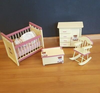 Nursery Baby Room Dollhouse Miniature Yellow Pink Furniture Set