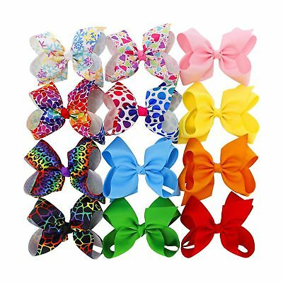 3 in 4.5in 6in Hair Bows For Girls Grosgrain Ribbon Large Butique Bow Clip Te...