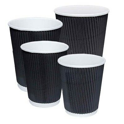 Disposable Coffee Cups Triple Wall + Lids 4,8,12,16 Oz Takeaway Bulk cups