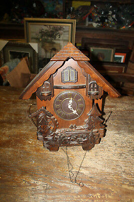 Wooden Battery Operated Cuckoo Clock No Working For Parts Made In Korea