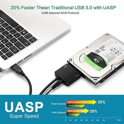 """USB3.0 to SATA 2.5"""" 3.5"""" Hard Disk Drive SSD Adapter Cable Wire Cord for Desktop"""