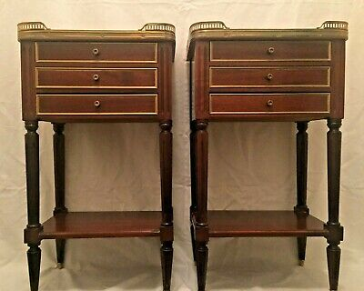 An Antique Pair Of Louis Xvi (Neoclassical) End Tables, Early Xx Century.