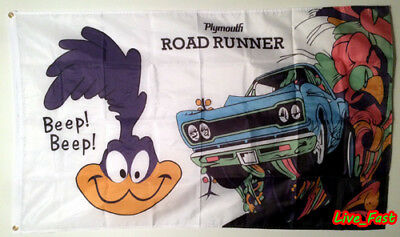 PLYMOUTH ROADRUNNER FLAG BANNER hemi vintage retro muscle car collectable sign