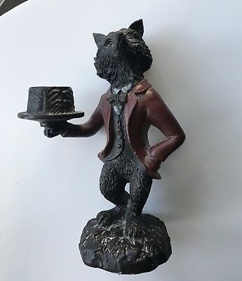 """Vintage Cast Iron Fox Wolf Butler Candlestick Candle Holder 7 1/2"""""""