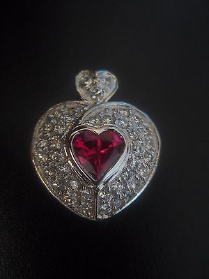 Beautiful!!  VIntage White Gold Plated Ruby Heart Pendant