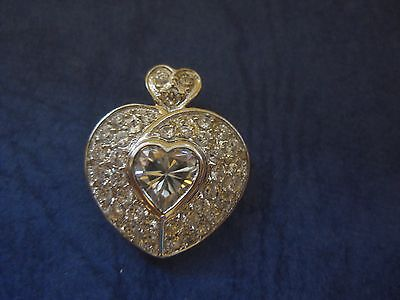 Beautiful!!  VIntage White Gold Plated CZ Heart Pendant