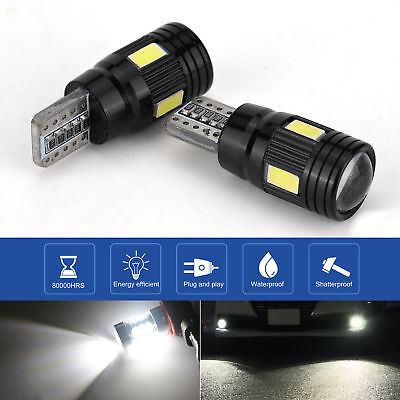 2x Super White T10 LED High Power Projector Backup Lights Reverse Marker Bulbs