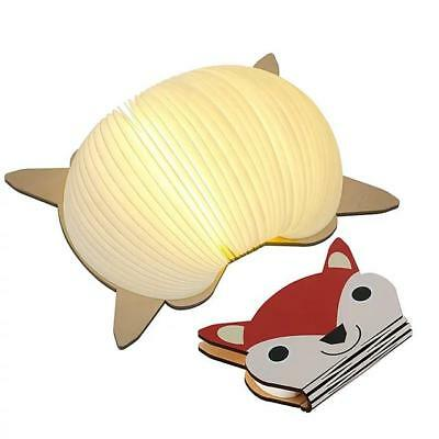 USB Rechargeable Wooden Folding LED Book Light for Decor, Fox-Shape