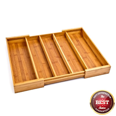 Seville Classics Bamboo Expandable 5 Large Compartment Adjustable Cutlery Drawe