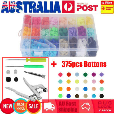375 Set DIY Craft KAM Snaps T5 Snap Starter Plastic Poppers Fasteners + 1 Pliers