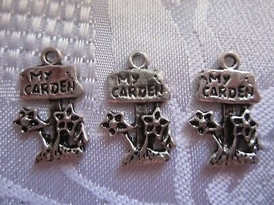 My Garden Sign Charm x  5 Tibetan Antique Silver Flowers