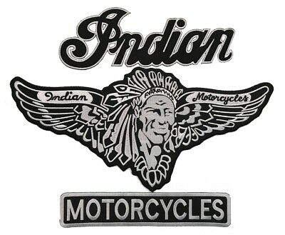Indian Motorcycle XL Black Embroidered Iron On BIKER BACK PATCH (3 Piece Set- B)