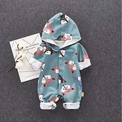 Newborn Baby Girls Boys Outfits Fox Hooded Romper Bodysuit Jumpsuit Clothes Set