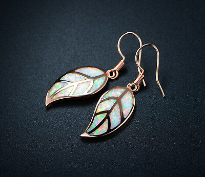 18K Rose Gold Plated Fire Opal Leaf Drop Earrings