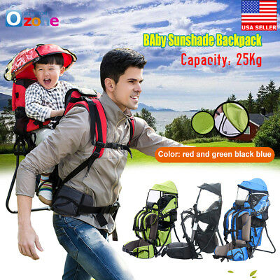 3f5cc9fc887 Baby Backpack Camping Hiking Child Kid Toddler Carrier Shade Visor US A+++