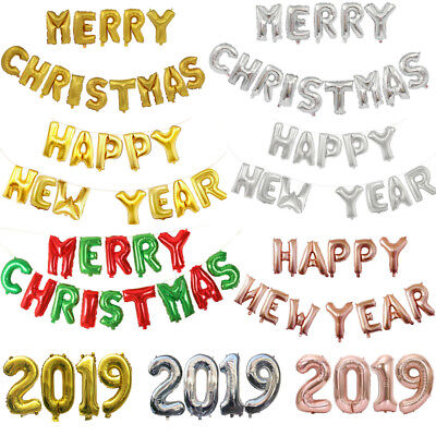 Merry Christmas Happy New Year 2019 Self Inflating Foil Balloon Banner Bunting