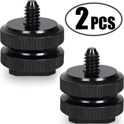 """Camera Hot cold Shoe Mount 1/4""""-20 Tripod Screw Adapter Flash DSLR Rig Pack of 2"""