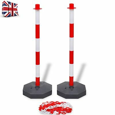 Portable Chain Security Bollards Post Guard Barrier Set with 10 m Plastic Chain