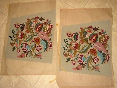 two hand made wool tapestry chair seat cushion cover unused green floral pair