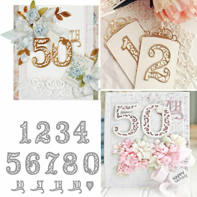 Silver Lace Numbers Metal Cutting Dies Stencil DIY Scrapbooking Embossing Craft