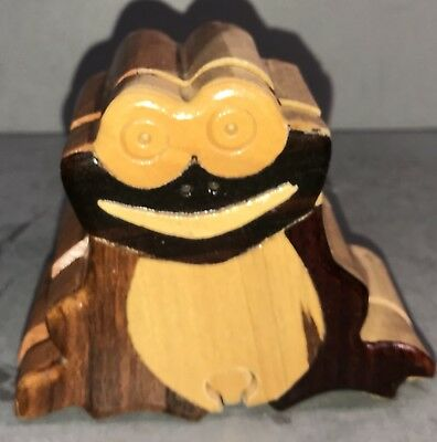 Wood Frog Puzzle Trinket Box - Handcrafted