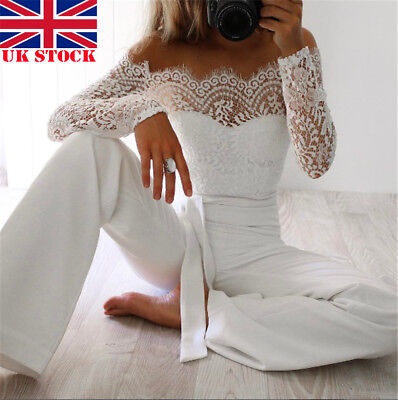 Women Lace Long Sleeve Jumpsuit Romper Clubwear Playsuit Bodycon Party Trousers