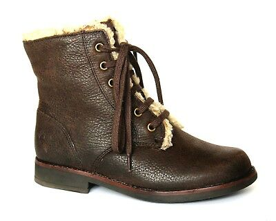 Clarks Kids UK 10.5 G Fit Brown Leather Zip & Lace Up Fleece Trim Ankle Boots