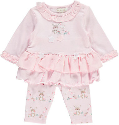 Baby Girls Spanish Style Embroidered Frilled Top & Leggings Outfit Bunny Design