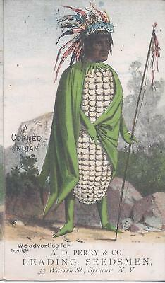 1890s VTC VICTORIAN TRADE CARD SYRACUSE NY A CORNED INDIAN ANIMATED VEGETABLE