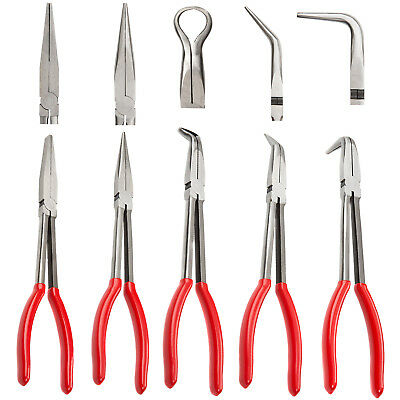 "5 Pc 11"" Long Needle Nose Pliers Set Wire Cutter Hose Clamp Bent Nose Pliers New"