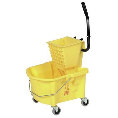 """Continental 26 qt Yellow Plastic Mop Bucket With Side Press Wringer - 22""""L x"""