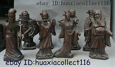 """9"""" Collection China Taoism Bronze Copper Stand Eight Immortals 8 God Statue Set"""
