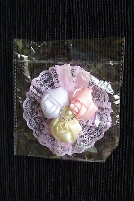 Baby clothes GIRL 0-3m 3 roses,large lace headband, pink,cream,white celebration