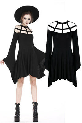 Dark In Love DW183 Mini Dress Black Gothic Casual Witchy Long Sleeves Black Sexy