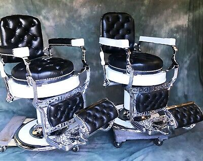 Koken Barber Chairs Matched Pair Round Seats Restored 1920's