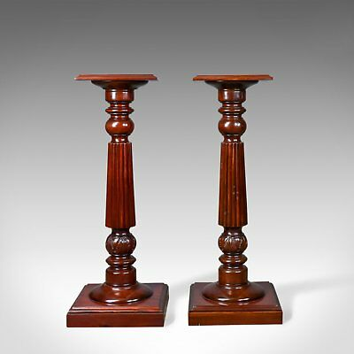A Pair of Vintage Torcheres, Victorian Taste, Mahogany Plant Stand Late C20th