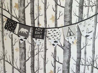 Adventure Fabric Monochrome Bears Teepee Arrows Bunting Garland Large Flags